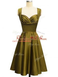 Fantastic Olive Green Lace Up Straps Ruching Damas Dress Taffeta Sleeveless
