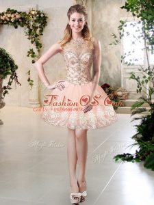Pretty Sleeveless Lace Up Mini Length Beading and Lace and Appliques Homecoming Dress