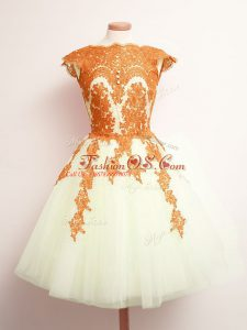 Multi-color A-line Appliques Wedding Party Dress Lace Up Tulle Sleeveless Mini Length