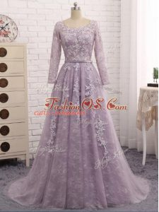 Deluxe Lavender Zipper Mother Of The Bride Dress Beading and Appliques Sleeveless Brush Train