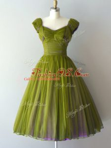 Sumptuous Ruching Court Dresses for Sweet 16 Olive Green Lace Up Cap Sleeves Knee Length