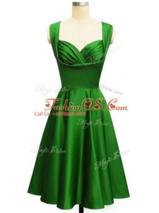 Great Knee Length Lace Up Damas Dress Green for Prom and Party and Wedding Party with Ruching