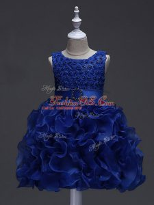Fashionable Royal Blue Ball Gowns Ruffles and Belt Kids Formal Wear Lace Up Organza Sleeveless Knee Length