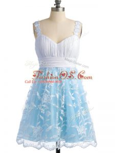 Light Blue Sleeveless Lace Knee Length Bridesmaid Gown