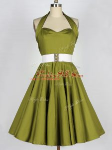 Olive Green A-line Taffeta Halter Top Sleeveless Belt Knee Length Lace Up Dama Dress for Quinceanera