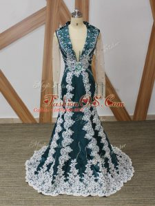 Free and Easy Long Sleeves Beading and Lace and Appliques Zipper Mother Of The Bride Dress with Navy Blue Brush Train
