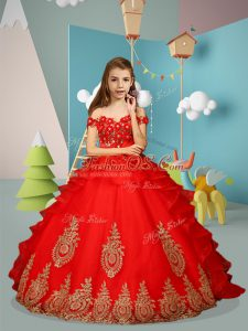 Red Sleeveless Floor Length Appliques and Embroidery Lace Up Little Girl Pageant Gowns