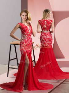 Coral Red Red Carpet Gowns V-neck Sleeveless Brush Train Zipper