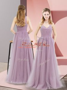 Halter Top Sleeveless Zipper Party Dresses Lilac Tulle
