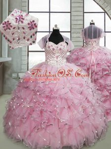 Sleeveless Organza Brush Train Lace Up Little Girl Pageant Dress in Baby Pink with Beading and Ruffles