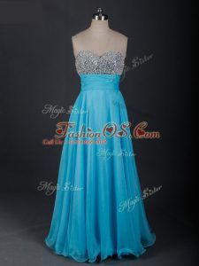 Captivating Baby Blue Lace Up Sweetheart Beading Homecoming Dress Chiffon Sleeveless