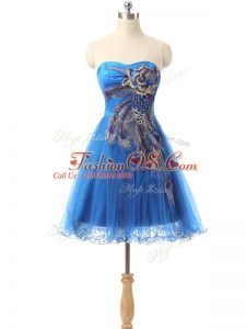 Eye-catching Tulle Sleeveless Mini Length Prom Evening Gown and Appliques