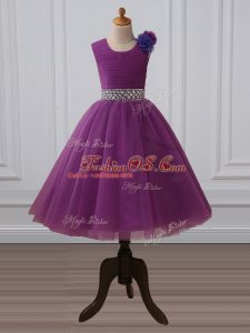 Tea Length Purple Child Pageant Dress Scoop Sleeveless Zipper