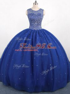 Scoop Sleeveless Tulle Quinceanera Gown Beading Zipper