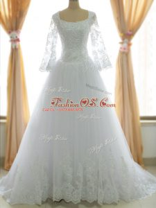 Most Popular Sleeveless Brush Train Lace and Appliques Zipper Wedding Gowns