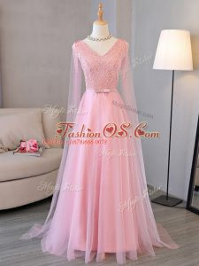 Admirable Baby Pink Long Sleeves Beading Floor Length Custom Made