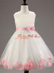 Scoop Sleeveless Tulle Kids Formal Wear Appliques and Hand Made Flower Zipper