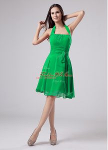 Halter Top Short Sleeves Chiffon Mother Of The Bride Dress Ruching Zipper