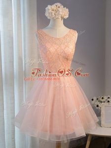 Exceptional Sleeveless Tulle Zipper Prom Gown in Peach with Beading and Belt