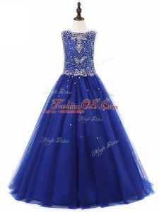 Royal Blue A-line Tulle Scoop Sleeveless Beading Floor Length Lace Up Kids Pageant Dress