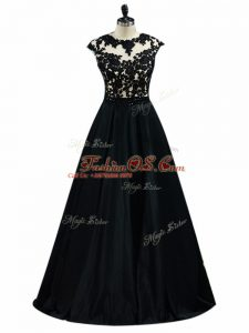 A-line Military Ball Dresses For Women Black Scoop Taffeta Sleeveless Floor Length Backless
