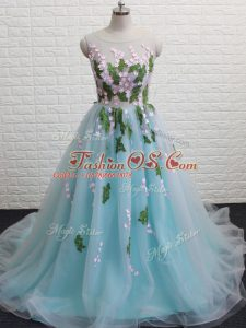 Aqua Blue A-line Scoop Sleeveless Tulle Brush Train Backless Appliques Teens Party Dress