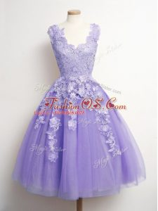 Discount Tulle Sleeveless Knee Length Quinceanera Dama Dress and Appliques