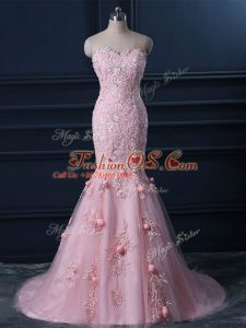 Pretty Sleeveless Appliques and Hand Made Flower Lace Up Prom Gown with Baby Pink Brush Train