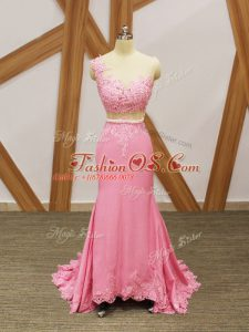 Baby Pink Zipper Scoop Beading and Lace and Appliques Red Carpet Gowns Elastic Woven Satin Sleeveless Brush Train