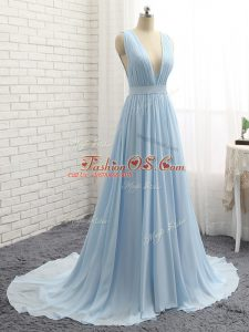 Charming Light Blue Backless V-neck Ruching and Belt Prom Gown Chiffon Sleeveless Brush Train