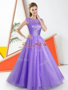 Tulle Sleeveless Floor Length Wedding Guest Dresses and Beading and Lace