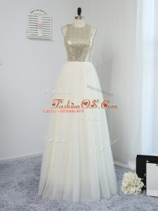 Wonderful Light Yellow Empire Tulle Scoop Sleeveless Sequins Floor Length Backless Dama Dress