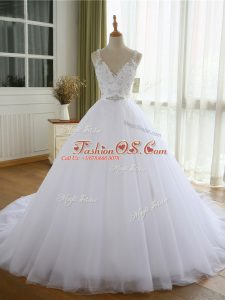 V-neck Sleeveless Tulle Wedding Gowns Beading and Lace and Appliques Court Train Lace Up