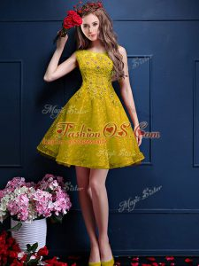 Charming Sleeveless Knee Length Beading and Lace Lace Up Quinceanera Court of Honor Dress with Yellow