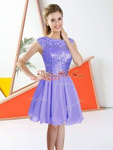 Amazing Chiffon Sleeveless Knee Length Bridesmaid Gown and Beading and Lace