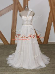 Sweet White Wedding Gown Tulle Brush Train Sleeveless Lace and Appliques