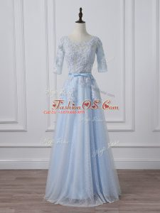 Light Blue Mother Of The Bride Dress Silk Like Satin 3 4 Length Sleeve Beading and Lace and Appliques