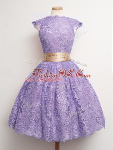 Excellent Lavender Lace Up Bridesmaids Dress Belt Cap Sleeves Knee Length