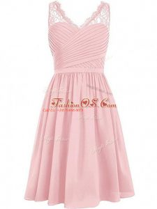 Affordable Pink Empire Chiffon V-neck Sleeveless Lace and Ruching Knee Length Side Zipper Bridesmaid Dresses