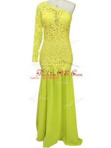 Suitable Brush Train Column/Sheath Mother Of The Bride Dress Yellow One Shoulder Chiffon Long Sleeves Side Zipper