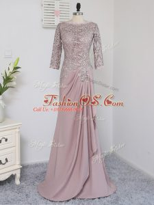 Elastic Woven Satin Scoop Half Sleeves Brush Train Zipper Beading and Lace and Appliques Mother Of The Bride Dress in Pink