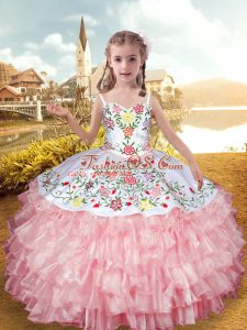 Best Organza and Taffeta Straps Sleeveless Lace Up Embroidery and Ruffled Layers Kids Formal Wear in Baby Pink