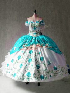 Elegant Multi-color Lace Up Off The Shoulder Embroidery and Ruffles Ball Gown Prom Dress Organza and Taffeta Cap Sleeves