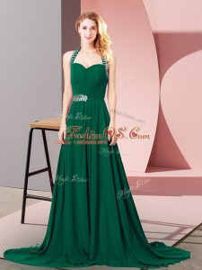 Dark Green Party Dresses Halter Top Sleeveless Brush Train Zipper