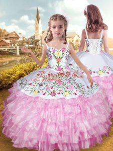 High Class Rose Pink Organza and Taffeta Lace Up Child Pageant Dress Sleeveless Floor Length Embroidery and Ruffled Layers