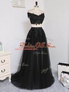 Super Black Off The Shoulder Zipper Beading Military Ball Gown Sleeveless