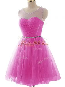 Pretty Fuchsia Tulle Lace Up Scoop Sleeveless Mini Length Casual Dresses Beading and Ruching