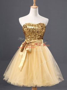 Modern Gold Zipper Sweetheart Sequins Tulle Sleeveless