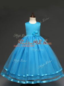 Scoop Sleeveless Kids Pageant Dress Floor Length Hand Made Flower Baby Blue Tulle