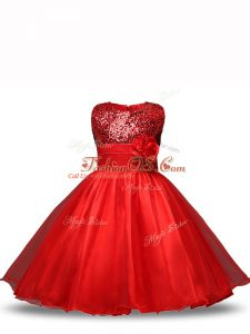 Top Selling Knee Length Red Kids Formal Wear Organza Sleeveless Sequins and Hand Made Flower